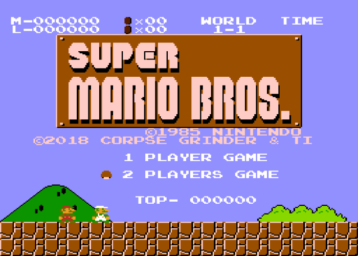 Super Mario Bros Two Players Hack Title Screen