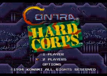 Contra: Hard Corps Stationary Fire Plus Title Screen