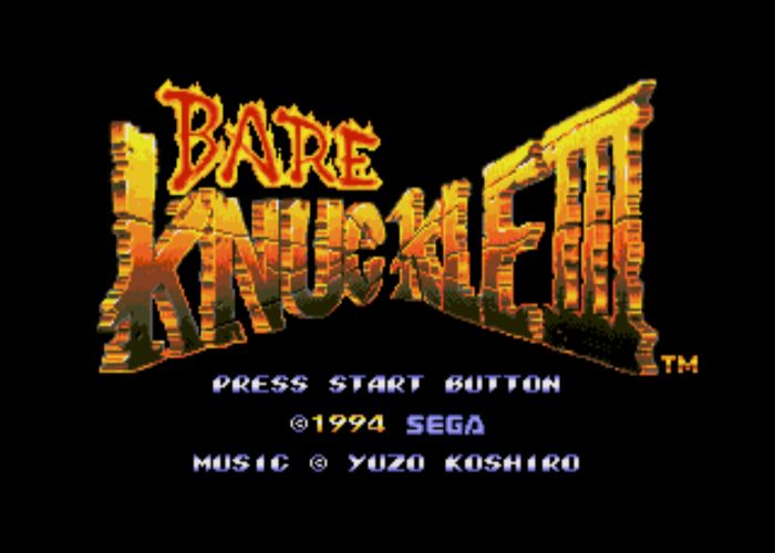 Bare Knuckle 3 English Title Screen