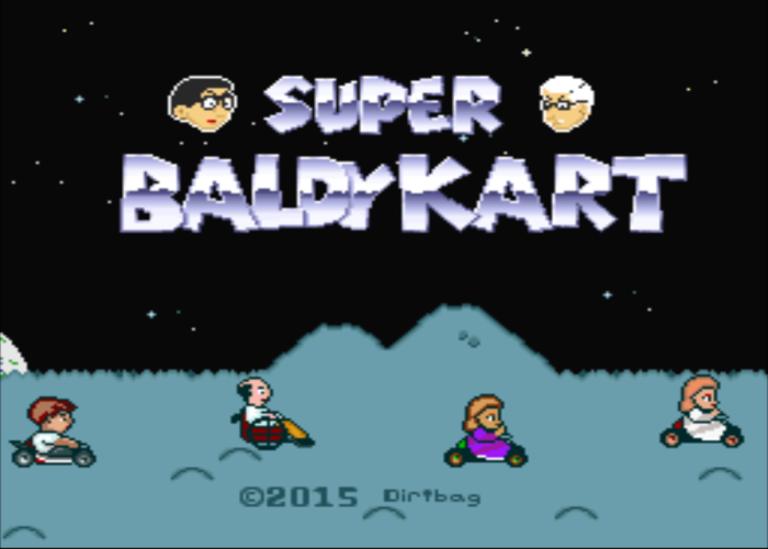 Super Baldy Kart Title Screen