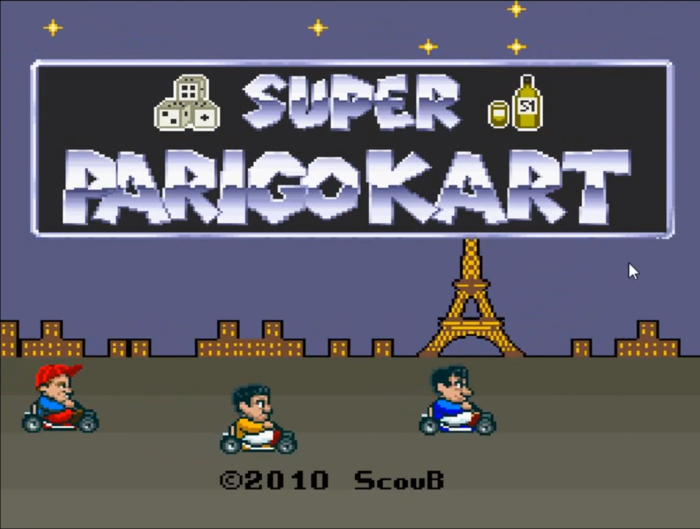 Super Parigo Kart Title Screen